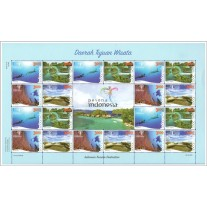 Indonesia 2016, Full Sheet Indonesia Tourism Destination with Gutter Pair, MNH